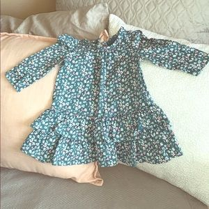 Baby Gap Green Long Sleeve Floral Dress